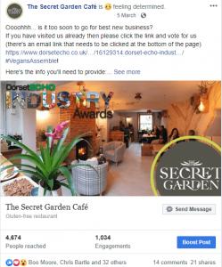 The Secret Garden Facebook Post for the Industry Awards